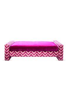 Salon Bench in a cut velvet chevron, by SHINE by Susan Hornbeak-Ortiz on Gilt Home - $4195
