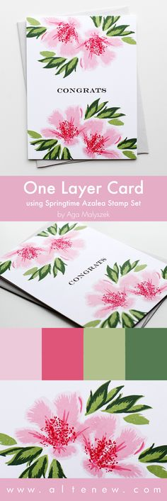 Quick and simple one-layer card using Springtime Azalea Stamp Set. It's another great, multi-layer set that will easily allow you to achieve a beautiful look only by layering up the images! www.altenew.com
