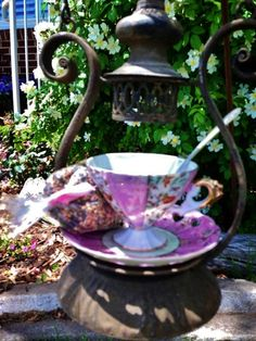 """""""Lantern"""" Hanging Bird Feeder..Vintage lantern with antique Tea Cup, saucer and silver spoon ... Sold"""