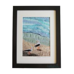 """Framed Textile Art Quilt,  """"Seagull I"""" , fabric stitched  art piece thread painted,"""