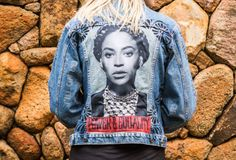 Beyonce as Angela Davis denim custom jacket by @ceuhandmade