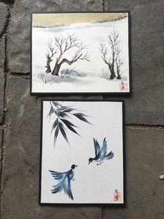 Vintage Signed Japanese Water Colors Pair Landscape and Blue Birds | eBay