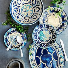 Beautiful Blue Byzantine Melamine Platter and dinnerware set - made to look like ceramic.  Very pretty!
