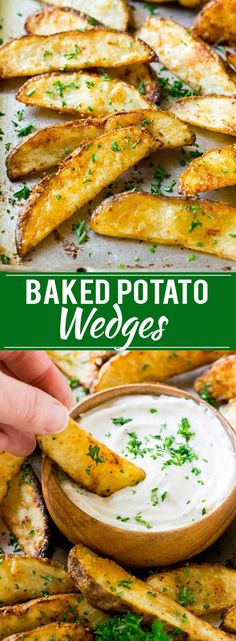 These crispy baked potato wedges are coated in seasonings and cooked in the oven to golden brown perfection! These baked fries are the perfect side dish. Crispy Baked Potato Wedges, Baked Potato Wedges Oven, Roasted Potato Wedges, Potato Wedges Recipe, Baked Potato Fries, Best Potato Wedges, Homemade Potato Wedges, Vegan Baked Potato, Best Baked Potato