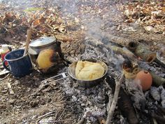 Campfire Cooking - A Typical Morning Meal.