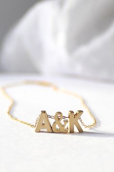 Tiny Initial Necklace Gold Initial Necklace by powderandjade