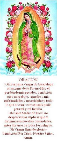 α JESUS NUESTRO SALVADOR Ω: Oración Virgen de Guadalupe I Love You Mother, I Love You God, God Is Good, Mother Mary, Catholic Prayers, Bible Prayers, Easter Prayers, Spanish Prayers, Love Breakup