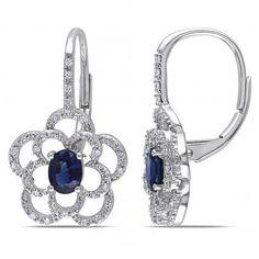 Allurez Oval Blue Sapphire & Diamond Flower Drop Earrings 14k W. Gold... (805 CAD) ❤ liked on Polyvore featuring jewelry, earrings, white gold, flower earrings, diamond drop earrings, 14 karat gold earrings, stud earrings и 14k yellow gold earrings