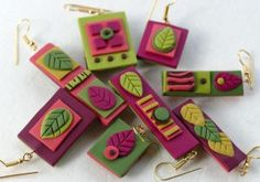 Mix and match polymer clay earrings using Sculpey Souffle, by Liz Welch