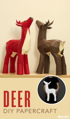 Deer Papercraft Template | DIY Deer paper craft project | Make your own beautiful little free-standing deer stag with this papercraft template from KaBlackout