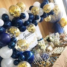 Navy Birthday, Blue Birthday Parties, Birthday Balloons, White Party Decorations, Gold Christmas Decorations, Birthday Party Decorations, Navy Party Themes, Us Navy Party, Royal Theme Party