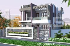 gharplanner.com project-details GPHP-00120.html House Front Design, Modern House Design, Building Design, Building A House, Compound Wall, Indian House Plans, Beautiful Small Homes, Simple House Plans, Bungalow Exterior