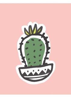 Sweet little cacti illustration