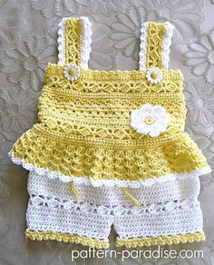 Crochet Pattern for Daisy Tank and Shorts Set Baby Girl PDF image 1 Baby Girl Crochet, Crochet Baby Clothes, Crochet For Kids, Knit Crochet, Crochet Daisy, Booties Crochet, Crochet Summer, Baby Patterns, Crochet Patterns