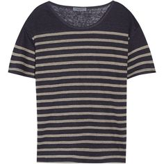 Current/Elliott The Short Sleeve striped linen-jersey T-shirt ($67) ❤ liked on Polyvore featuring tops, t-shirts, navy, blue tee, linen tee, jersey t shirts, navy tee and navy t shirt