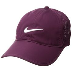 Nike Perf Cap (Bordeaux/Bordeaux/Anthracite/White) Caps (81 PEN) ❤ liked on Polyvore featuring accessories, hats, fitted caps hats, white hat, white cap, six panel hat and adjustable hats