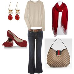 """Winter / Fall Red Ivory Casual"" by ggdesigns on Polyvore"
