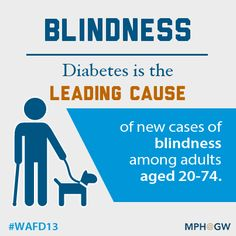 Diabetes is the leading cause of new cases of blindness among adults aged 20-74. #Diabetes #WAFD13 #DiabetesMonth #WDD  #publichealth #health
