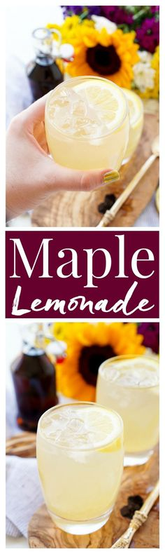 This Maple Lemonade is inspired by Maine and made with just lemon juice, maple syrup, and water. It's a refreshing cold drink for summer or fall! Fall Cocktails, Summer Drinks, Cocktail Drinks, Cocktail Recipes, Drambuie Cocktails, Rumchata Cocktails, Martini Recipes, Party Drinks, Fun Drinks