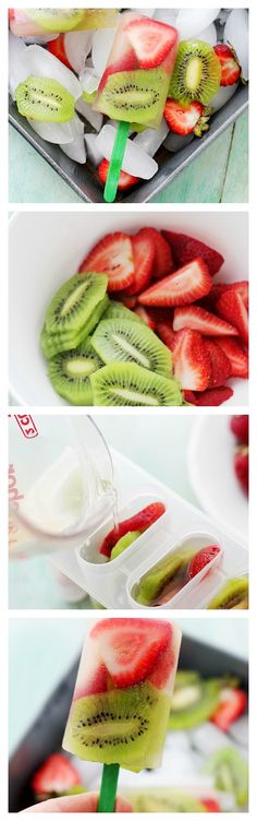 Strawberry-Kiwi Fruit Popsicles: Super easy to make, delicious and healthy Strawberry-Kiwi Popsicles! Healthy Fruits, Healthy Snacks, Healthy Eating, Healthy Recipes, Juice Recipes, Kiwi Recipes, Blender Recipes, Jelly Recipes, Fruit Snacks