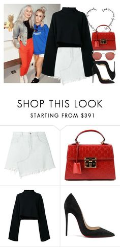 """Fashion show with Lottie and Lou"" by ilaria-1999 ❤ liked on Polyvore featuring Sandy Liang, Gucci, STRATEAS.CARLUCCI, Christian Louboutin and Ray-Ban"