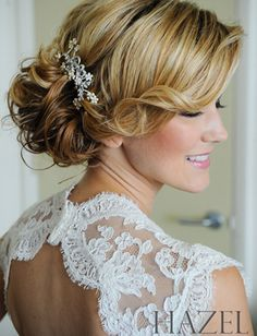 side swept curls - covers ear - replace accessory with gardenia