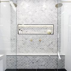 As seen on The Block - get the look using Navona Ice, a fish scale Carrara Marble mosaic tile - available from Alstonville Tiles & Floorcoverings