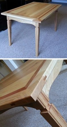 From David Bluff ..First project I made to pass my collage course. Ash and cherry table…Look at the joinery in this project…..love it