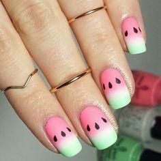Airbrush watermelon nails. Cute nails. Fun nails. Summer nails.