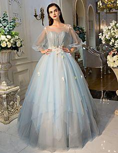 Formeller Abend Kleid Ballkleid Schmuck Boden-Länge Tüll mit Kristall Verzierung / Blume(n) / Spitze / Seitlich drapiert – CHF ₣ 583.20