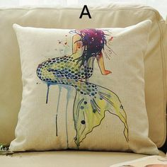 Mermaid decorative pillow watercolor style Grimm's Fairy Tales sofa cushions design