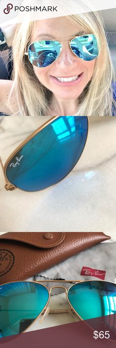 """Ray-Ban Classic Aviators """"Remix"""" in Blue Flash Ray-Ban classic-style 58 mm aviators with Blue Flash color lenses, gold frame, transparent temples. Comes with original brown leather case and cleaning cloth. Great condition, only a few very minor marks on lenses as shown in photos! Ray-Ban Accessories Sunglasses"""