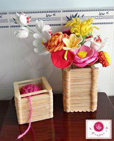 diy popsicle sticks -  yarn holder or flowers pot