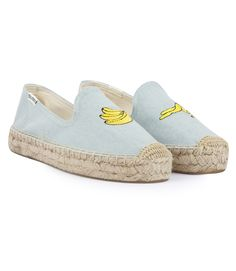 SOLUDOS BANANA EMBROIDERED PLATFORM SMOKING DENIM SLIPPER ESPADRILLES