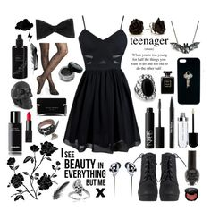 """""""Black"""" by hannahstewart111 ❤ liked on Polyvore featuring Trish McEvoy, NARS Cosmetics, Alexander McQueen, The Giving Keys, Express, Crate and Barrel, Tressa, Chanel, Narciso Rodriguez and Kahina Giving Beauty"""