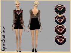 The Sims Resource: Midnight Garden Mini Dress • Sims 4 Downloads
