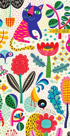A tiger kitten flower story pattern to show you today: There once was a magic garden. It was deep inside the land of Summer and it . Illustration Blume, Pattern Illustration, Magazine Illustration, Surface Pattern Design, Pattern Art, Kids Patterns, Print Patterns, Mundo Hippie, Motif Vintage