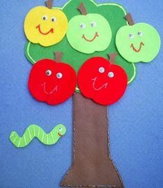 Items similar to Five Little Apples Teasing Worm Flannel Board Felt Board Story on Etsy Flannel Board Stories, Felt Board Stories, Felt Stories, Flannel Boards, Apple Activities, Toddler Activities, Toddler Fun, 5 Little Monkeys, Apple Theme