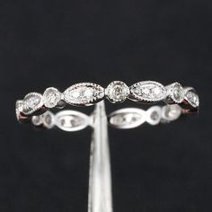 Anniversary Rings Art Deco Antique Style VVS-H Diamond Milgrain White Gold Wedding Band Anniversary Ring How many thumbs up to this? Wedding Rings Simple, White Gold Wedding Bands, Wedding Rings Vintage, Diamond Wedding Bands, White Gold Rings, Wedding Jewelry, Gold Jewelry, Antique Wedding Bands, Womens Wedding Bands