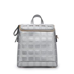 54.24$  Buy now - http://alilr4.worldwells.pw/go.php?t=32661176053 - Designer Plaid Backpack Stylish Embossing PU Chic Dual Function Daypack Women Fashion Casual Gold Silver Zipper Single Shoulder 54.24$