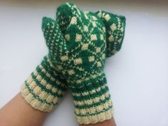 Hand knitted mittens with Baltics by HandmadeEditeandRita on Etsy, $27.50