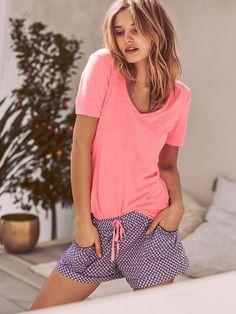 Victoria s Secret The Mayfair Tee  amp  Short Set Flannel Pajamas 2490e3022ee15