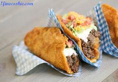 """Copycat """"Doritos Locos"""" Taco Bell Recipe by 1 Fine Cookie (gimme gimme! Taco Bell Recipes, Mexican Food Recipes, Beef Recipes, Soup Recipes, Doritos Recipes, Mexican Meals, Mexican Dishes, Food Menu, Tasty"""