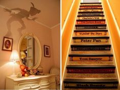 love Peter Pan's shadow! And classic books are the stairs!