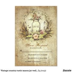 Vintage country rustic mason jar wedding RSVP Card Vintage wedding reply cards with flowers wreath and old mason jar with bride's and groom's initials.