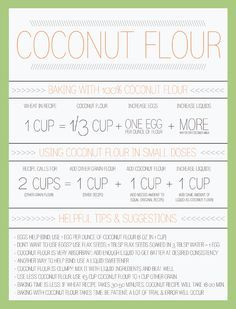 Coconut Flour Conversion Chart - coconut flour is amazing and gluten-free, but it works a bit differently than most other flours. This smart chart helps you understand how to use it. Coconut Recipes, Paleo Recipes, Real Food Recipes, Free Recipes, Food Tips, Coconut Ideas, Food Hacks, Easy Recipes, Food Ideas