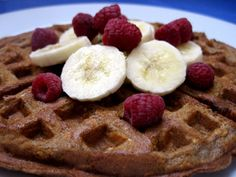 Cinnamon Oatmeal Waffles ... 1 3/4 cups whole wheat flour; 1/4 teaspoon salt; 1 tablespoon baking powder; 2 cups rolled oats; 3 tablespoons flaxmeal; 2 tablespoons ground cinnamon; 1 tablespoon brown sugar; 2 large eggs; 1 cup yogurt; 1 cup skim or soymilk; 1/4 cup Earth Balance margarine, melted ... (not bad, def needs syrup to make it sweeter. ~SarahP)