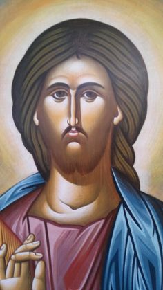 Jesus Christ.Christian orthodox icon hand made by myBlueBrush