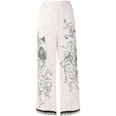 Prada floral sketch trousers (€2.335) ❤ liked on Polyvore featuring pants, capris, high waisted wide leg pants, cropped capri pants, white lace pants, wide leg cropped pants and high waisted white pants