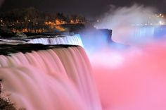 I absolutely love visiting Niagara Falls, especially at night when the falls are illuminated in an array of lights in shades of reds, yellows, greens, purples and blues are shone on the Falls. These enormous lights bring another level of depth to the water and highlight the waterfalls.